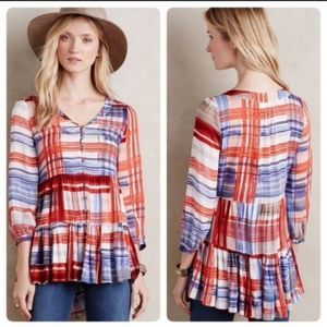 Anthro Maeve | Lila Tiered Plaid Button Up Top